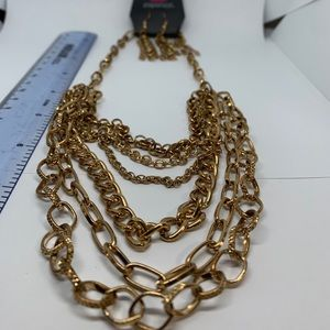 Paparazzi goldtone necklace and earring set
